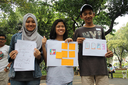 AppMaker prototyping in the park in Indonesia